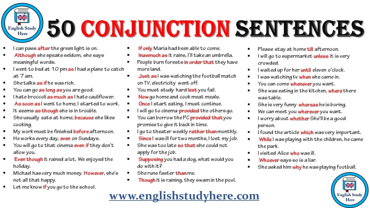 50 conjunction sentences in english english study here