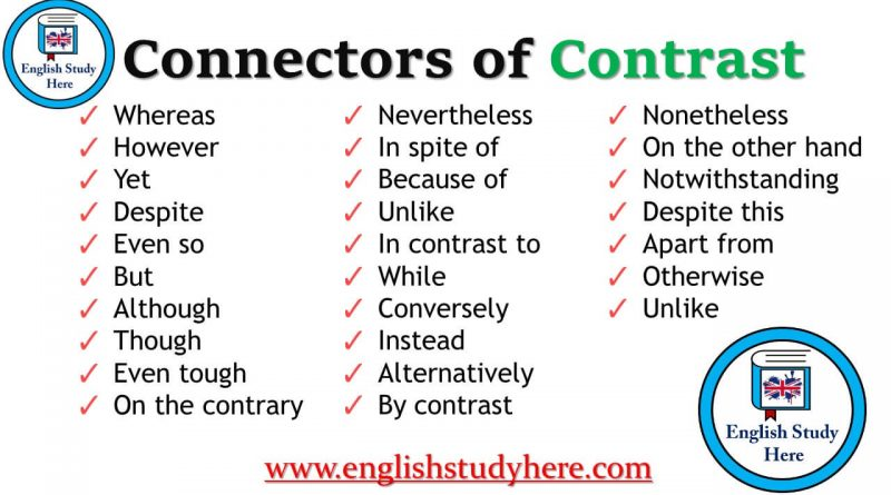 Connectors of Contrast list