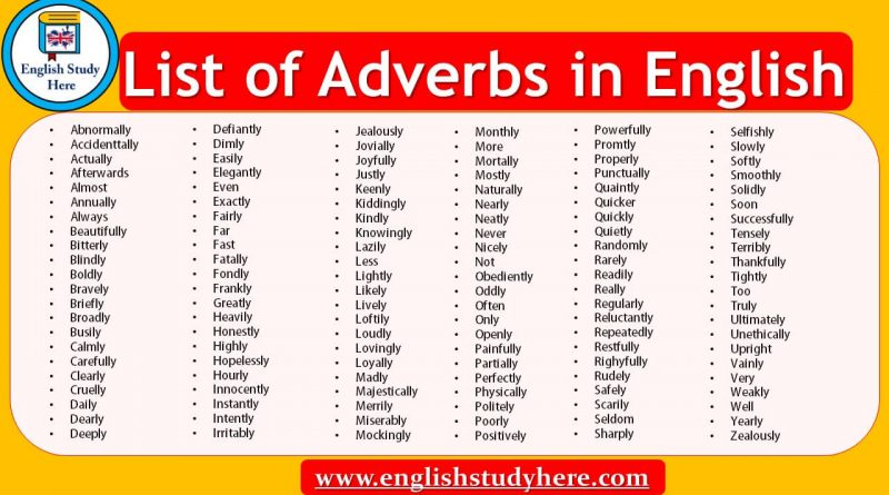 List of Adverbs in English