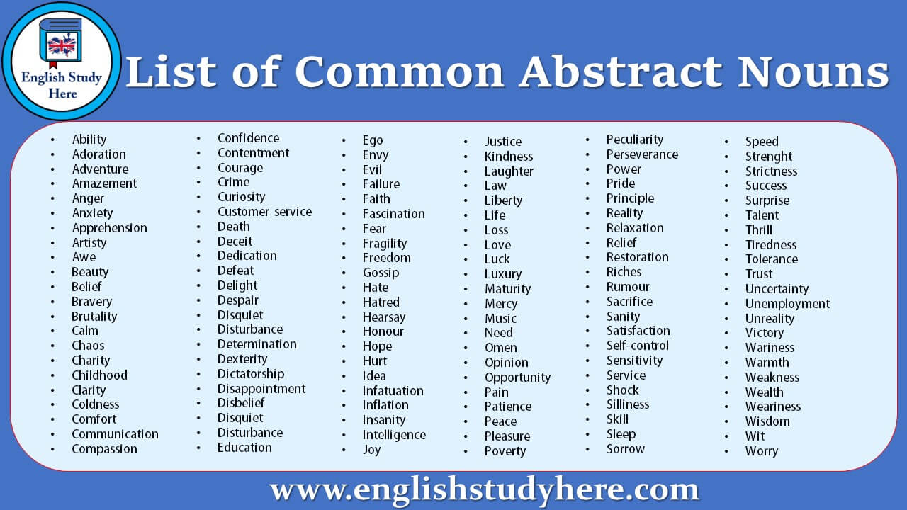 List of Common Abstract Nouns in English - English Study Here