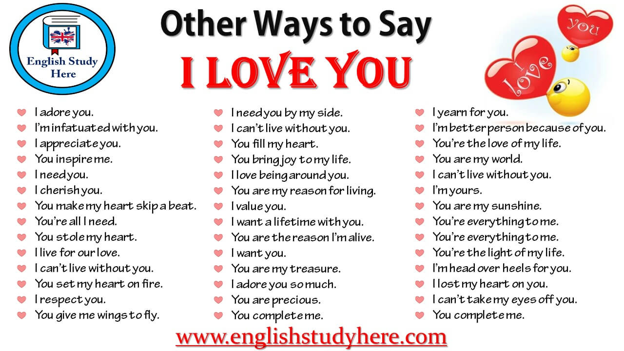 Other Ways To Say I Love You English Study Here