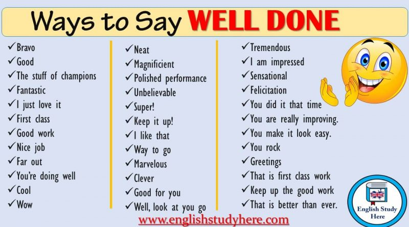 Ways to Say WELL DONE