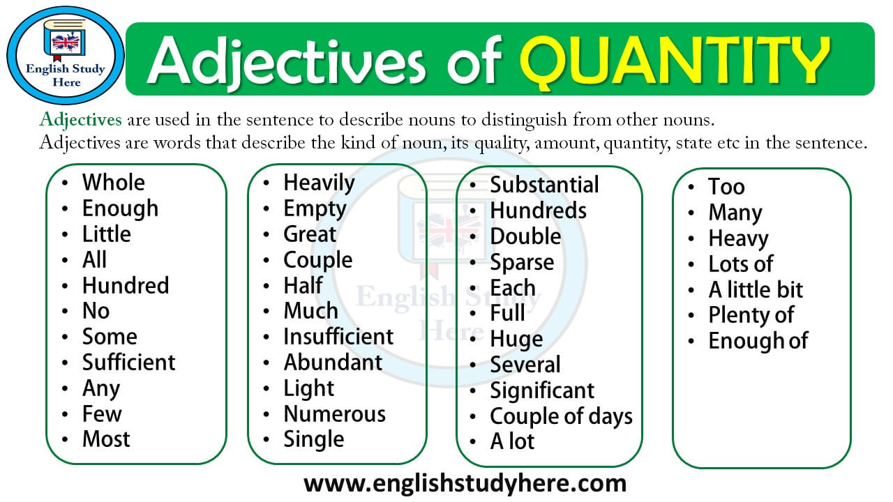 adjectives of quantity english study here