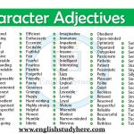 Character Adjectives in English
