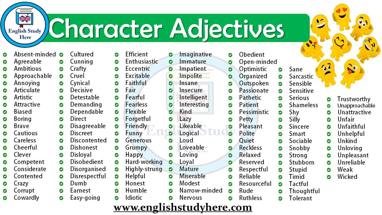 character adjectives in english english study here