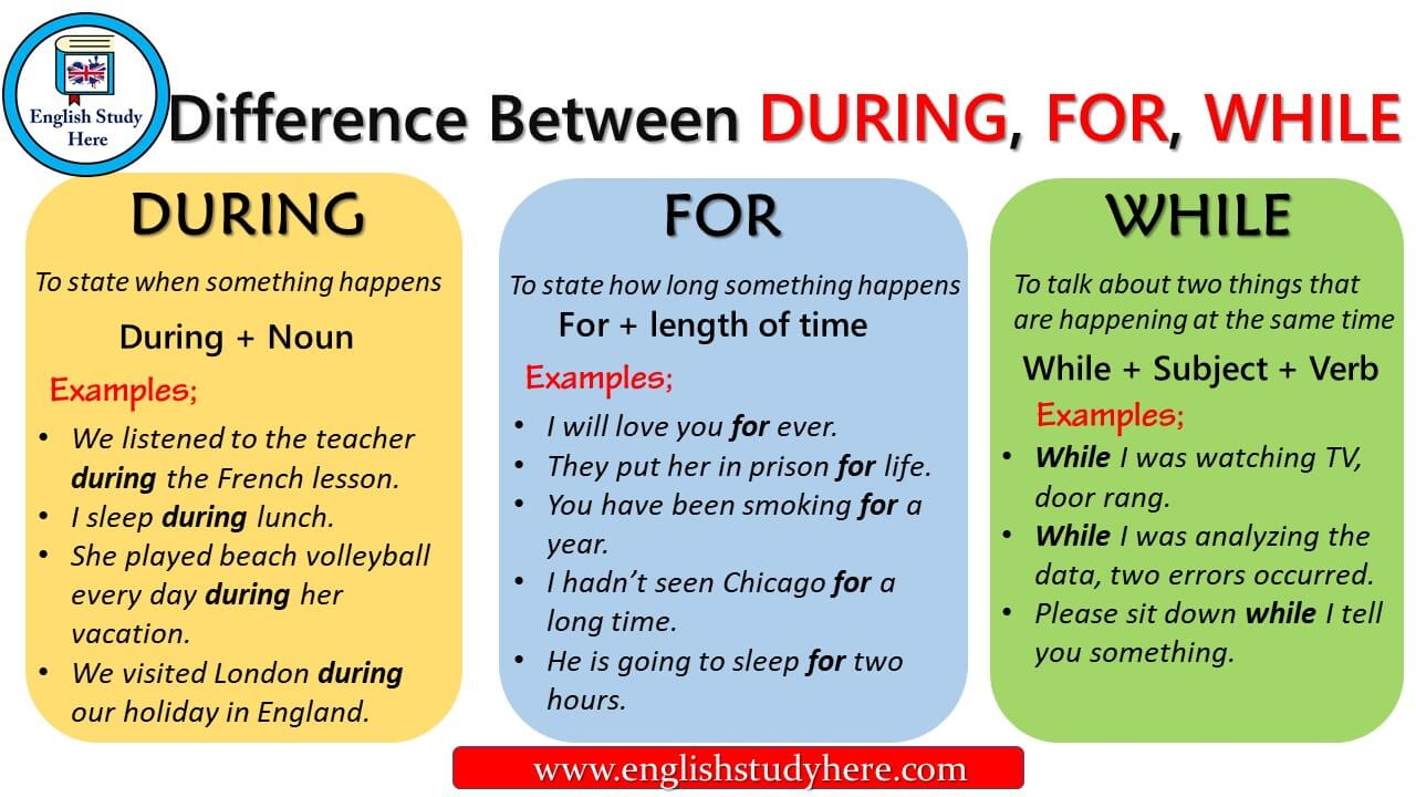 Difference Between DURING, FOR, WHILE