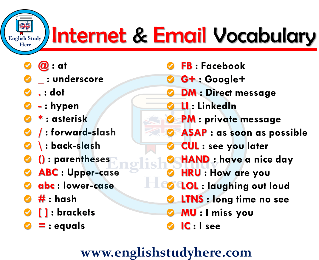 Internet & Email Vocabulary