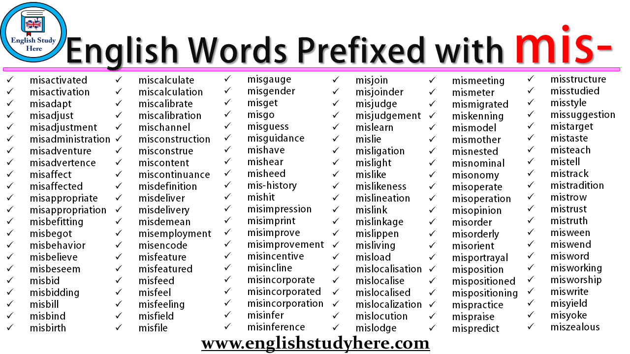English Words Prefixed with mis-