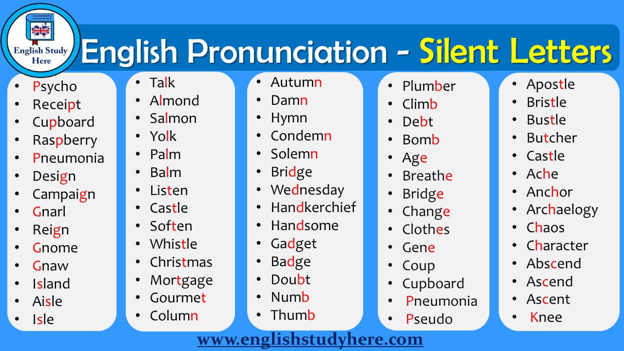 english pronunciation silent letters english study here