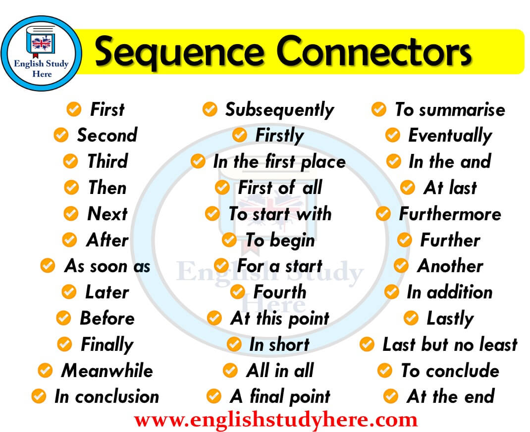 sequence connectors in english english study here