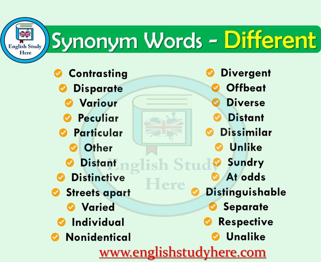Synonyms Words Related to Different
