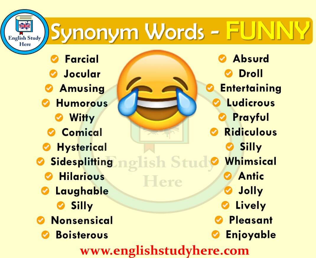 funny synonyms words english vocabulary synonym phrases silly hilarious language humorous ridiculous comical amusing hysterical study absurd learn grammar learning