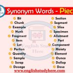 Synonyms Words Related to Piece