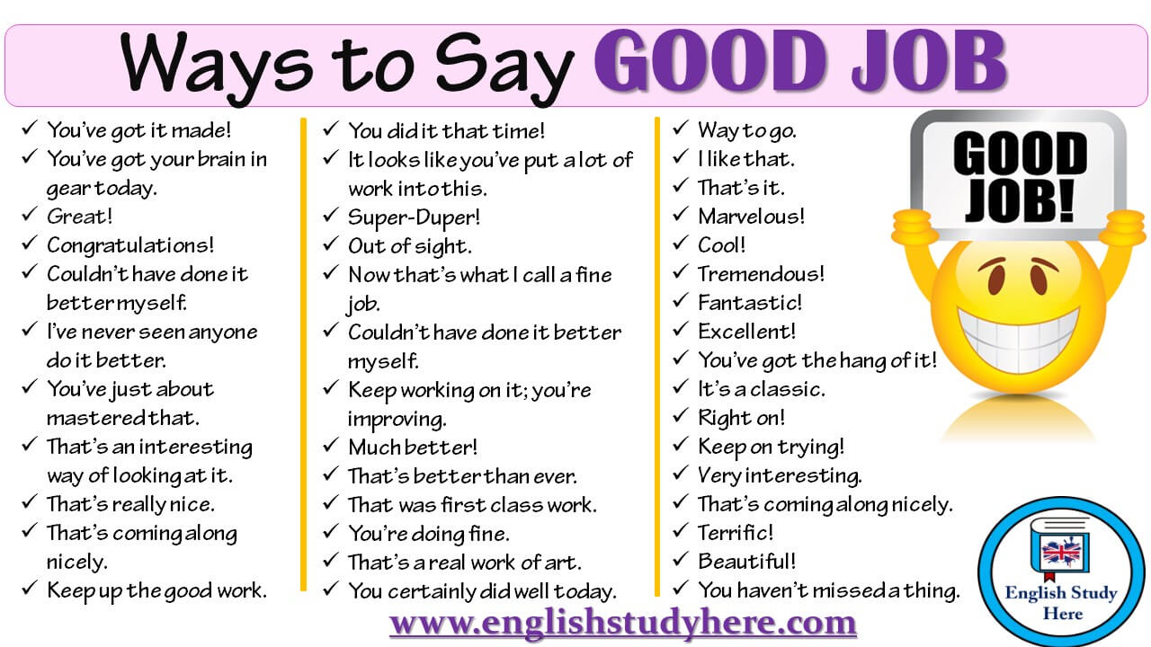 100 ways to say good job in english english study here