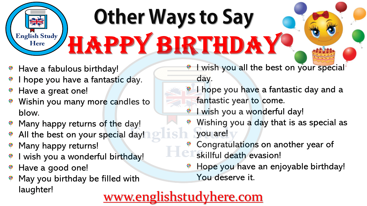 other ways to say happy birthday english study here