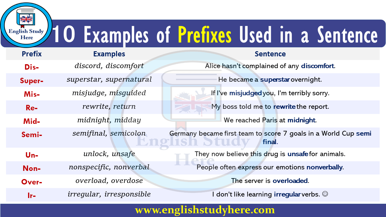 10 examples of prefixes used in a sentence english study here