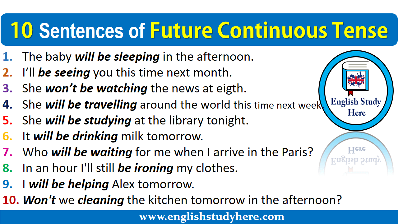 10 Sentences of Future Continuous Tense