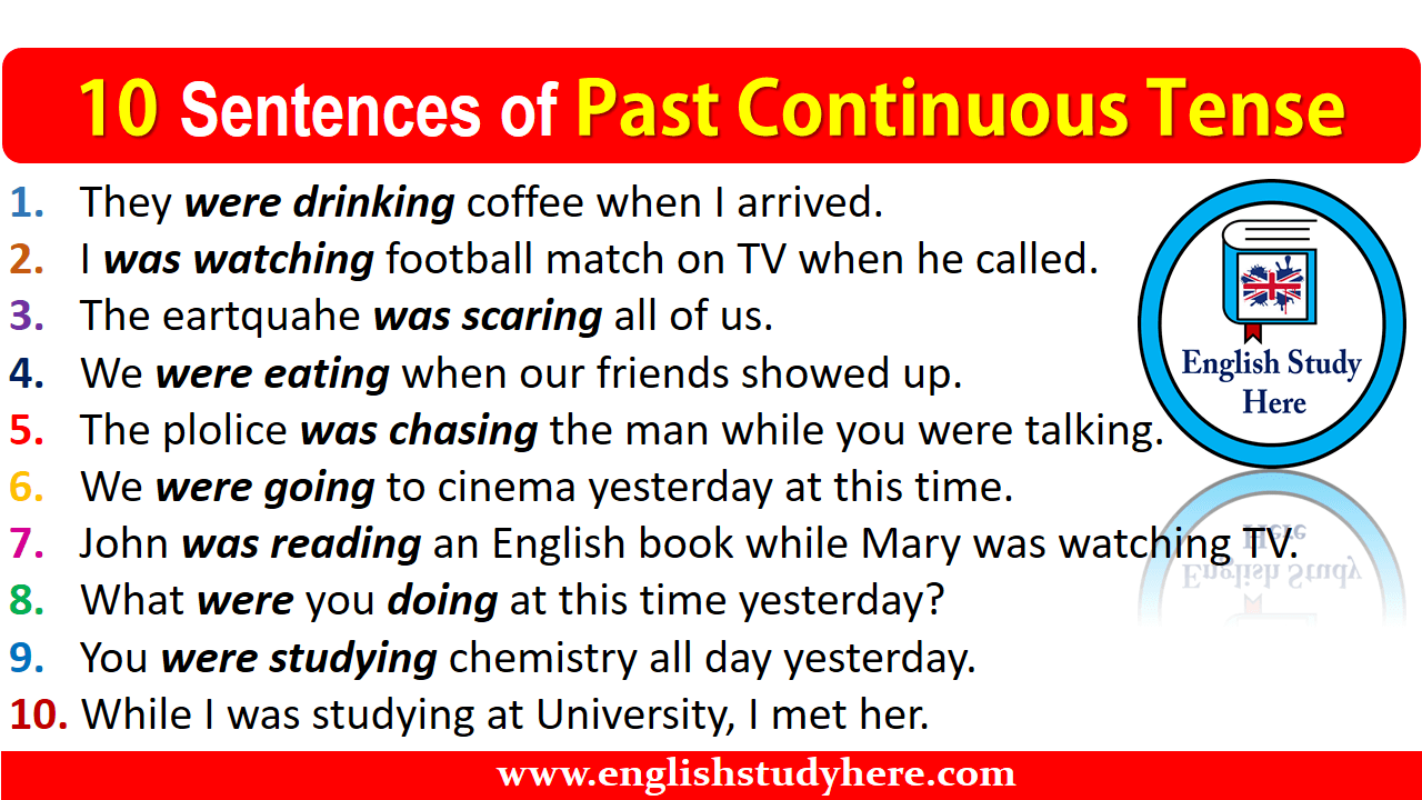 10 sentences of past continuous tense english study here