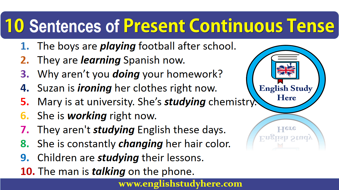 10 Sentences of Present Continuous Tense