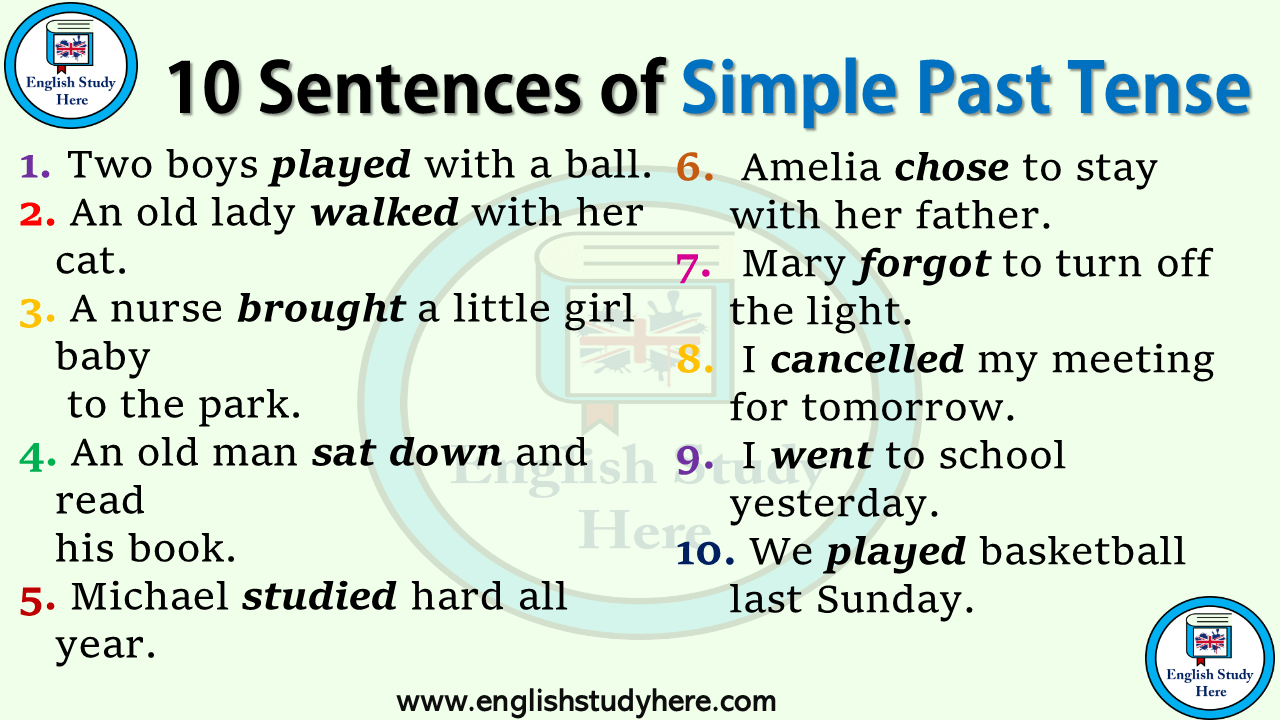 10 Sentences of Simple Past Tense