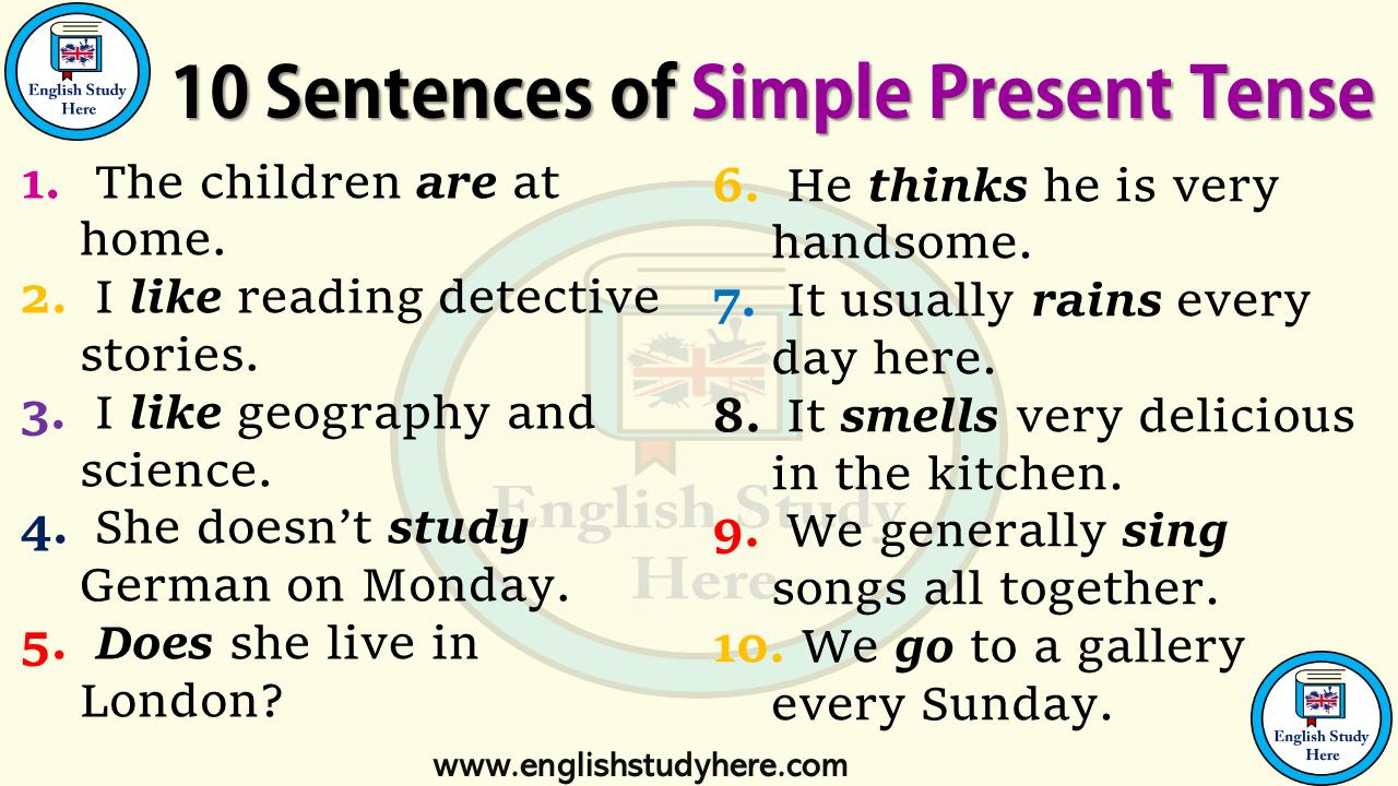 10 Sentences of Simple Present Tense