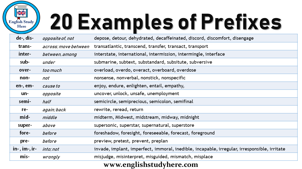 20 Examples of Prefixes