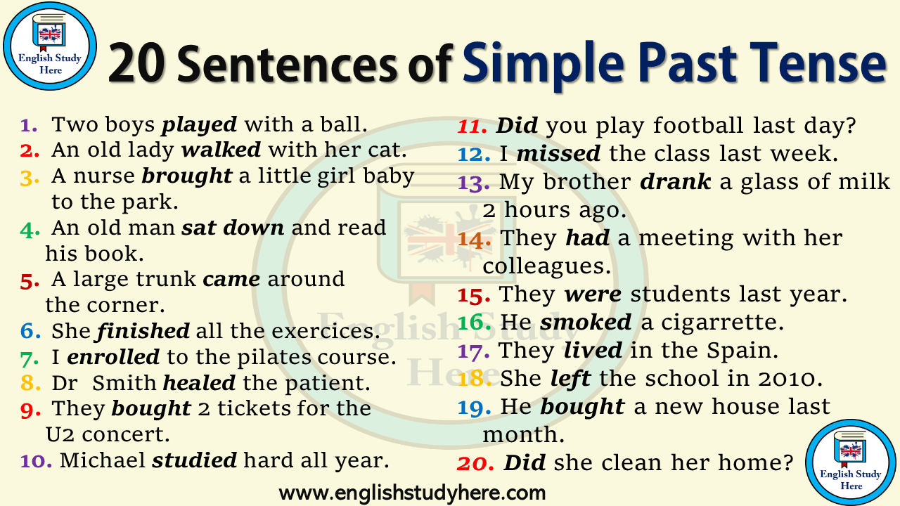 20 Sentences in Simple Past Tense