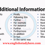 Additional Information Words