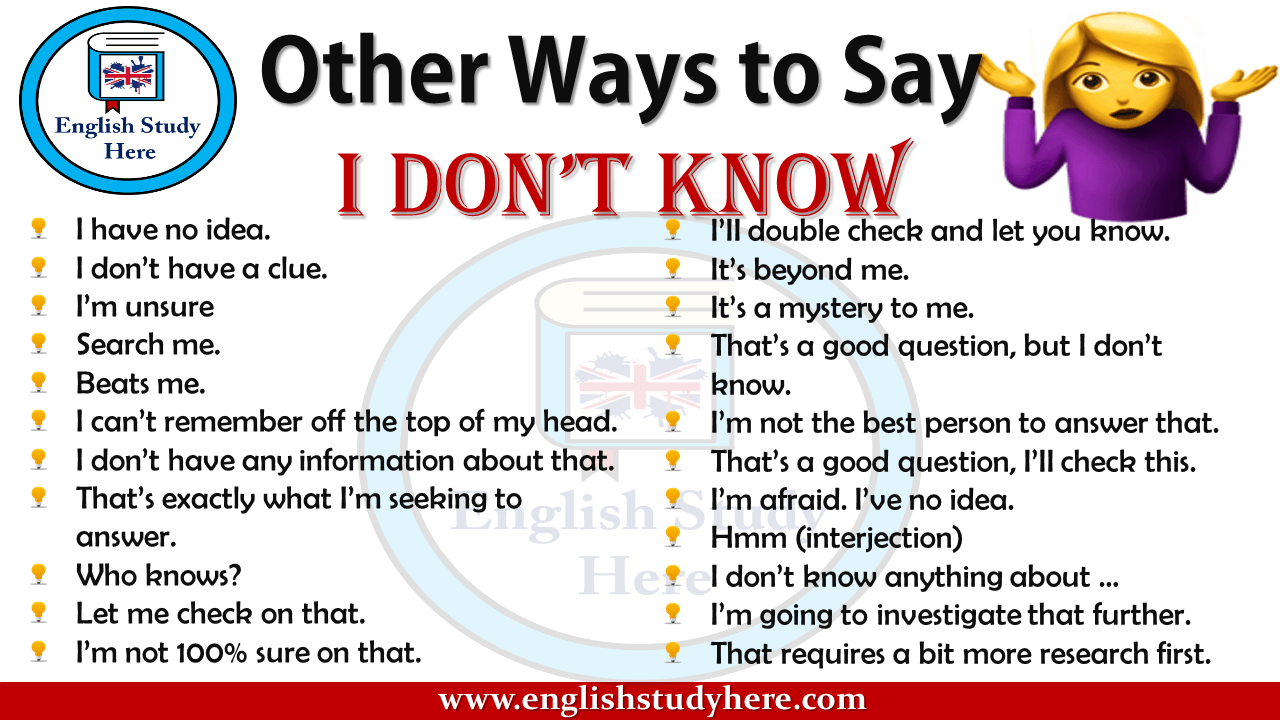 Other Ways to Say  I DON'T KNOW