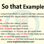 So that Examples