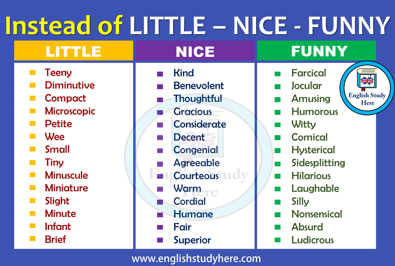Instead of LITTLE – NICE - FUNNY - Synonym Words - English Study Here