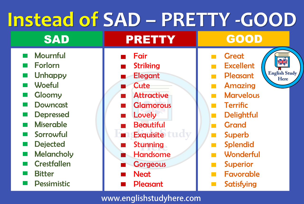 Instead of SAD – PRETTY -GOOD