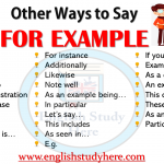 Other Ways to Say FOR EXAMPLE