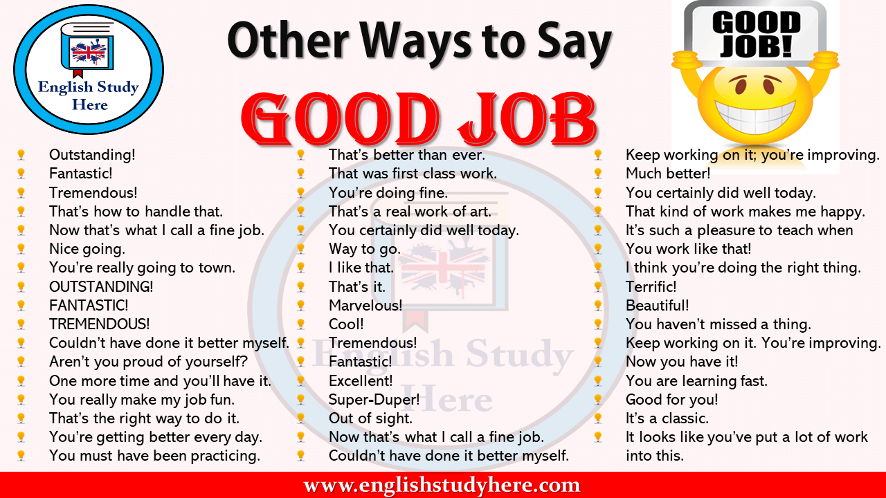 Other Ways to Say GOOD JOB