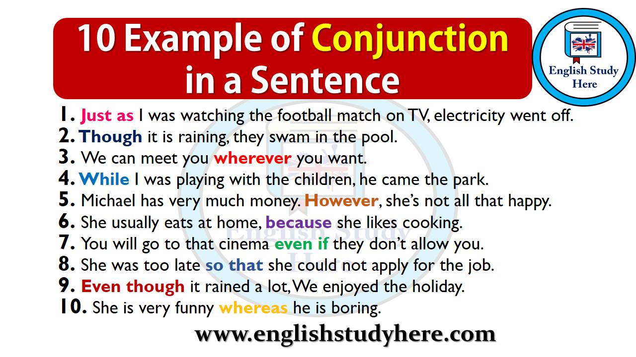 10 Example of Conjunction in a Sentence