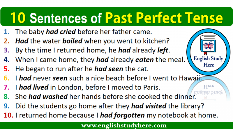 10 Sentences of Past Perfect Tense