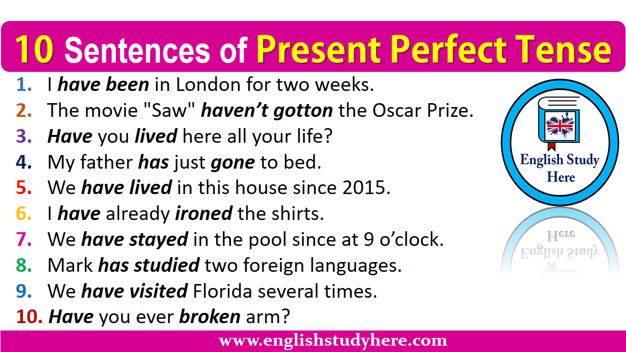 10 Sentences of Present Perfect Tense