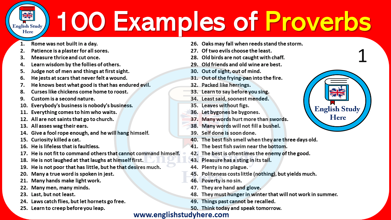 100 Examples of Proverbs