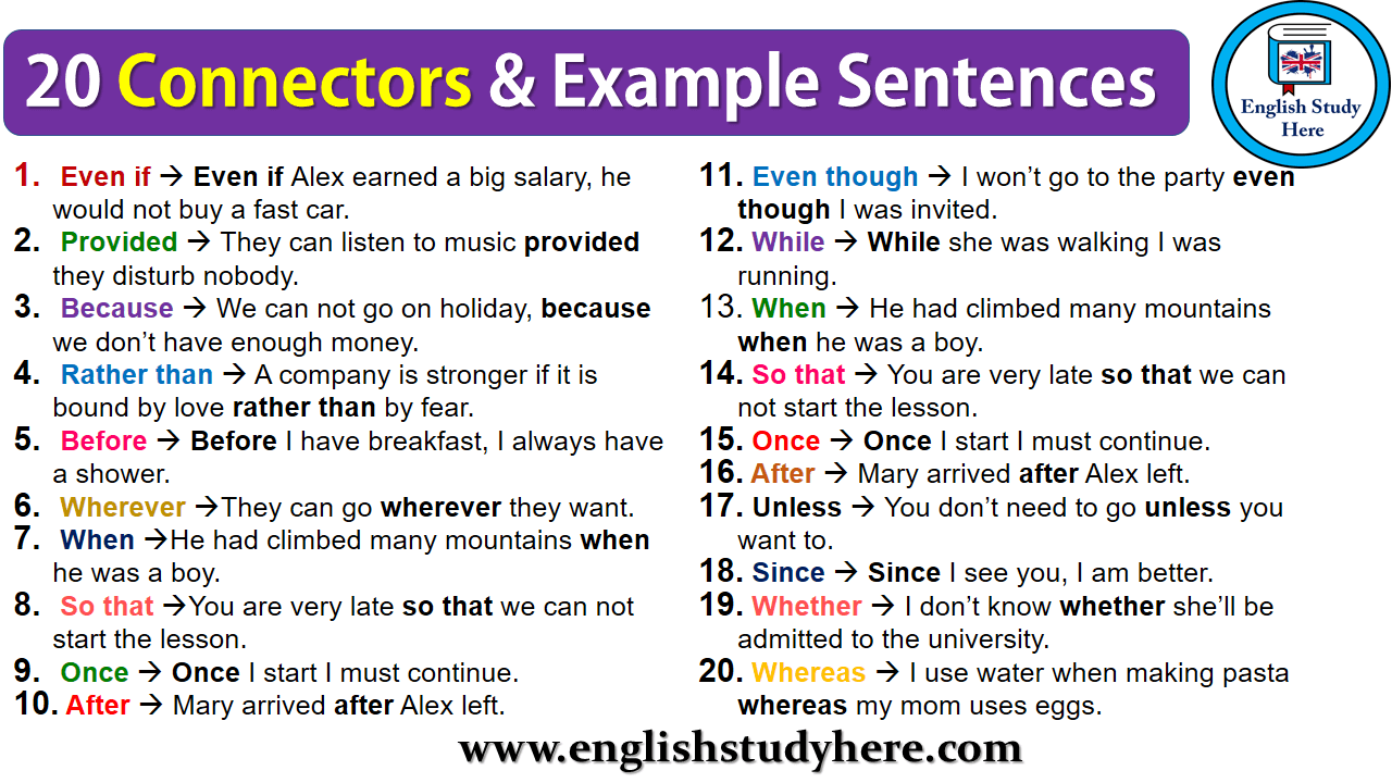 20 Connectors & Example Sentences