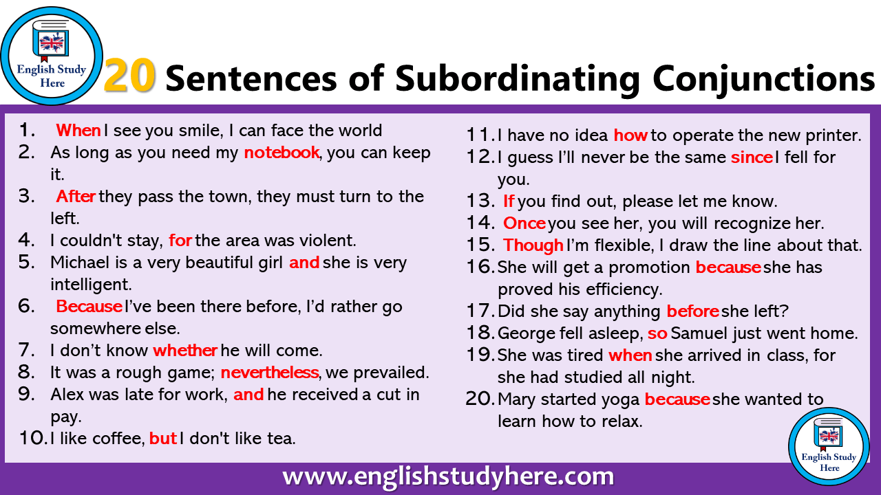 20 sentences of subordinating conjunctions english study here