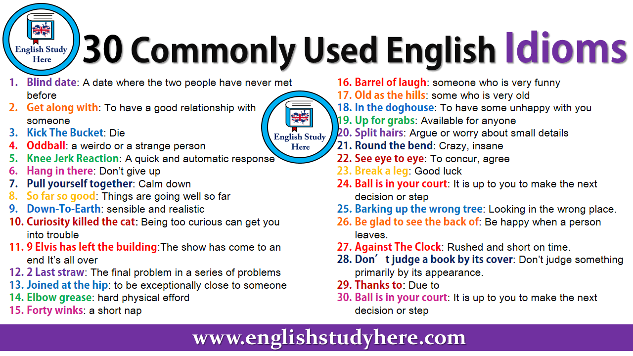 30 Commonly Used English Idioms
