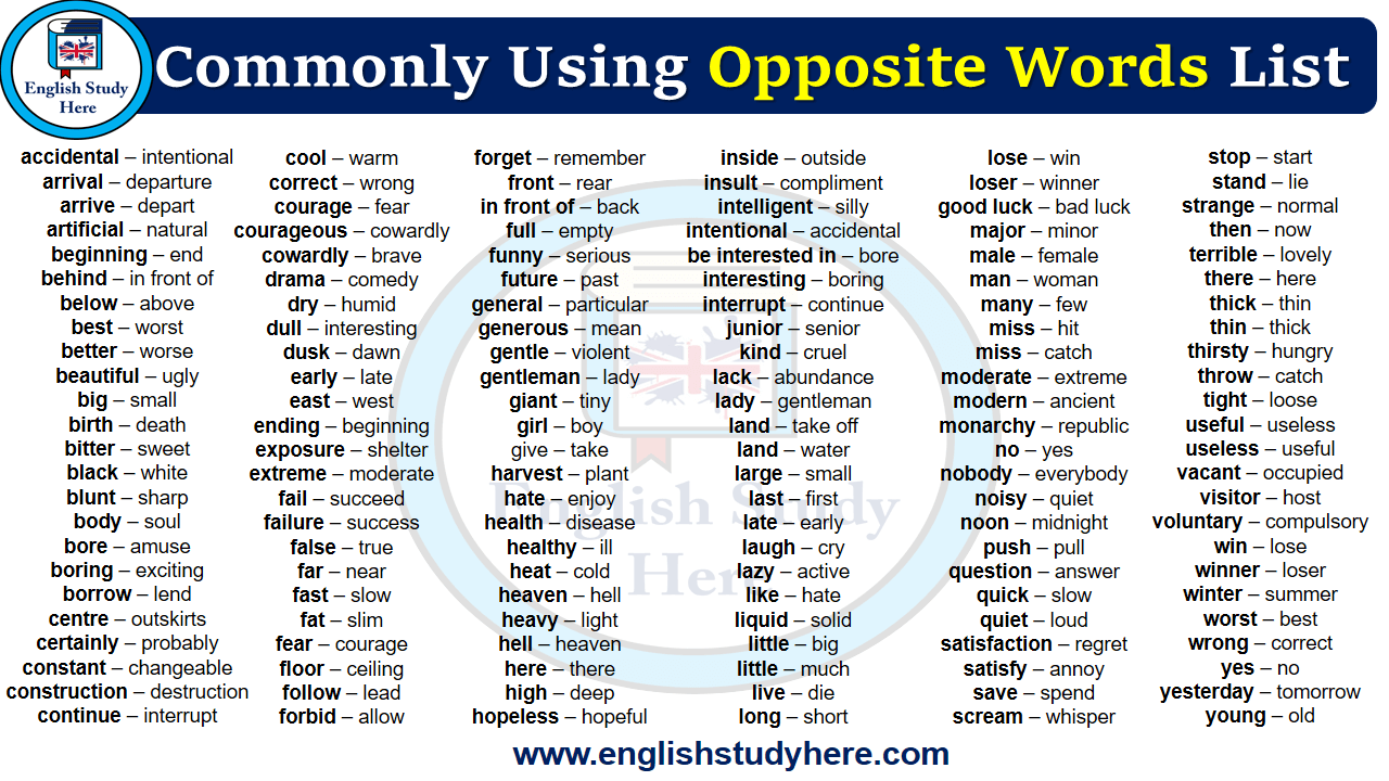 Commonly Using Opposite Words List