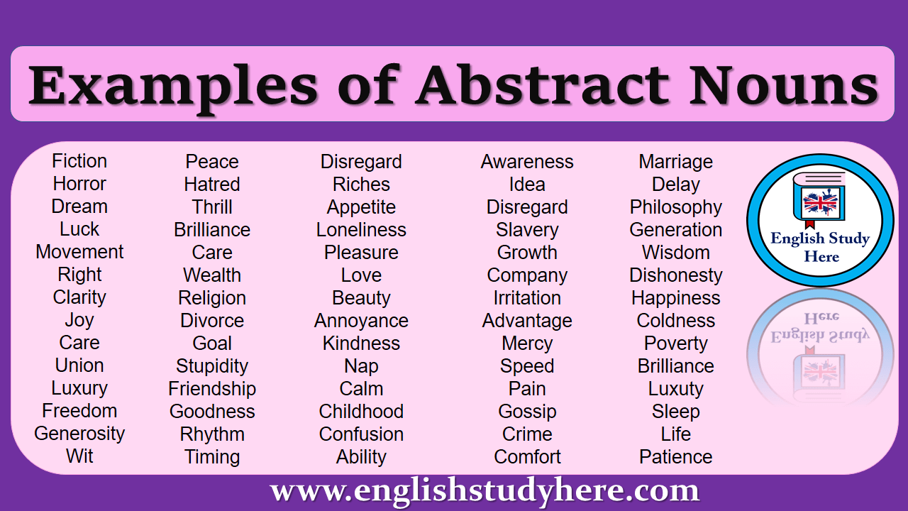 Examples Of Abstract Nouns English Study Here