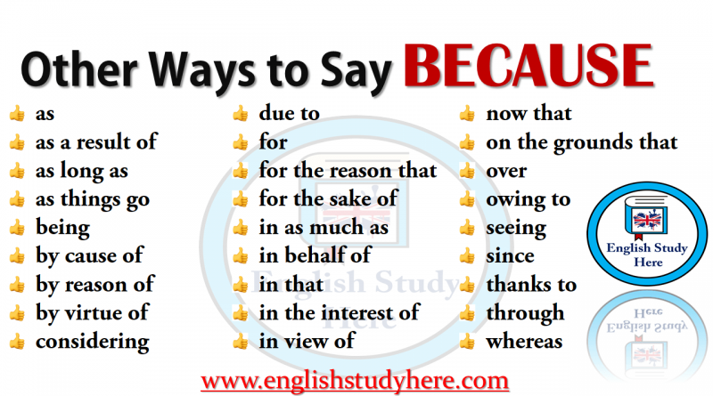 Other Ways to Say BECAUSE