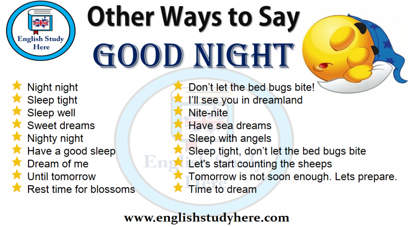 Other Ways to Say GOOD NIGHT