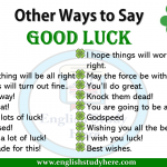 Other Ways to Say Good Luck