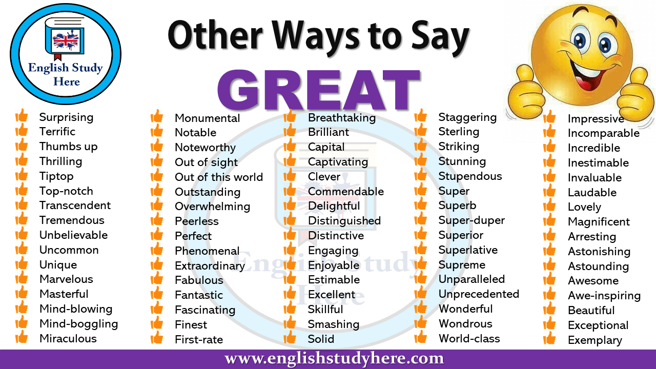 Other Ways to Say GREAT