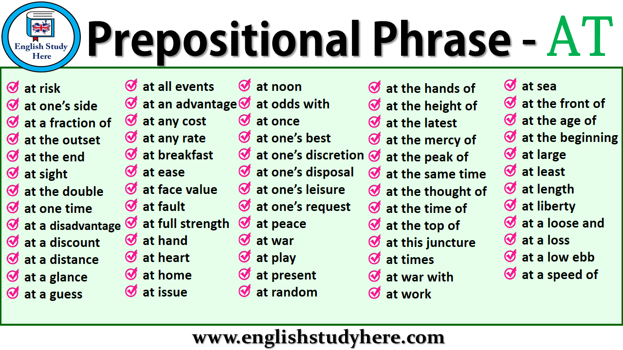 Prepositional Phrases List - AT - English Study Here