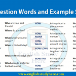 Question Words and Example Sentences