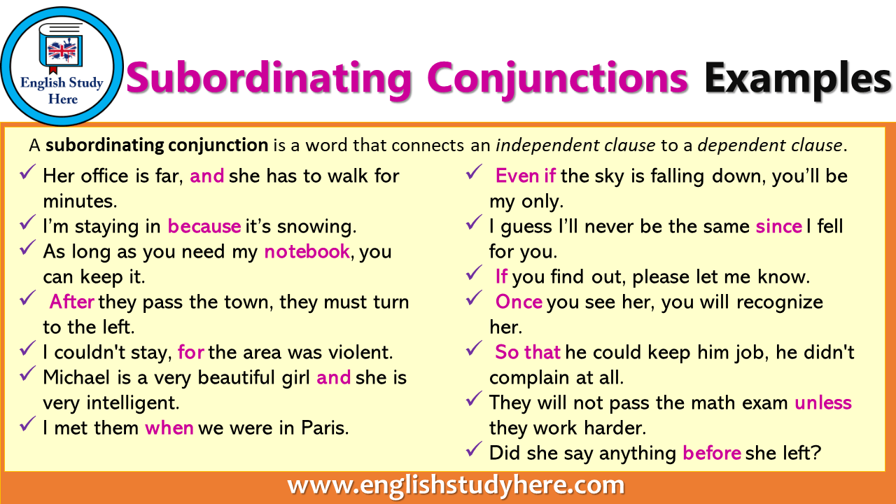 Subordinating Conjunctions Examples